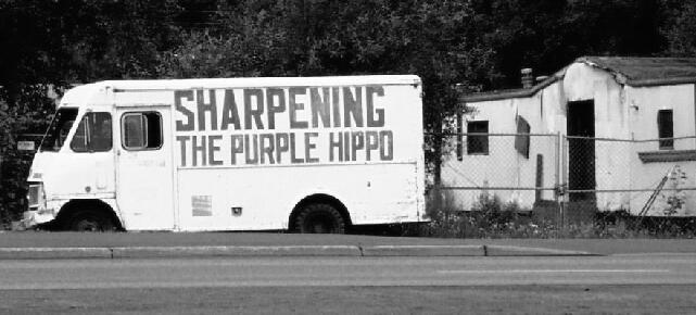 Sharpening the purple hippo...